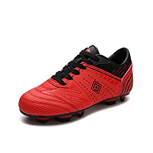 DREAM PAIRS Big Kid 160859-K Red Black Soccer Football Cleats Shoes - 5 M US Big Kid