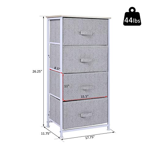 Heavens Tvcz Dresser Storage Cube Closet Wood Top Organizing Clothes Foldable Fabric Bins w/ 4 Home Bedroom for Storing Clothing, linens, Shoes, or Any Other Larger Items
