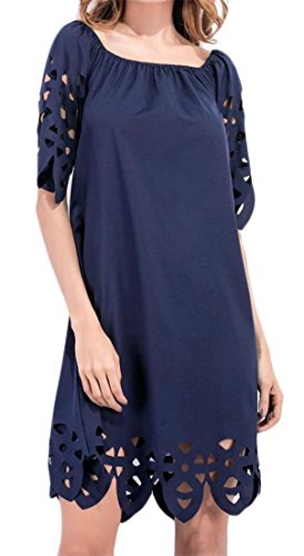 Solid Off Women's Hollow Blue Sleeve Half Dress Midi Shoulder Cromoncent Out Navy 6Xw00q