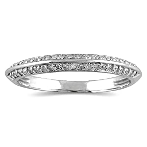 AGS Certified 1 4 Carat TW Diamond Knife Edge Wedding Band In 10K White Gold K L Color I2 I3 Clarity