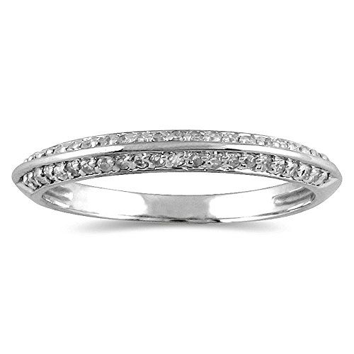 AGS Certified 1/4 Carat TW Diamond Knife Edge Wedding Band in 10K White Gold (K-L Color, I2-I3 (Gold Wedding Band Knife Edge)