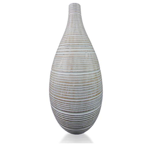 roro Hand-Carved Wood Droplet Vase with Stripes, 16 Inch (16 Inch, White Striped) (Droplet Vase)