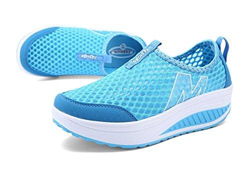 Vrouwen Hoogte Toenemende Schoenen Zomer Casual Platform Swing Wedges Schoenen Blauw