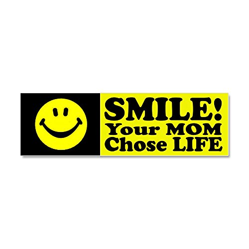 CafePress - Your Mom chose life Car Magnet 10 x 3 - Car Magnet 10 x 3, Magnetic Bumper Sticker