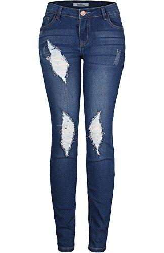 2LUV Women's Stretchy 5 Pocket Dark Denim Destroyed Skinny Jeans Dark Denim 3
