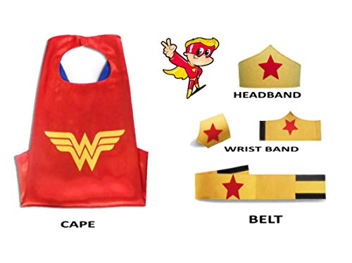 Superhero Capes Kids Halloween Costumes Girls 5 Pc Set 4-10yrs (Y Redstar Girl)