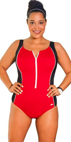 Aquabelle Women's Xtra Life Lycra Red Zip Front Swimsuit