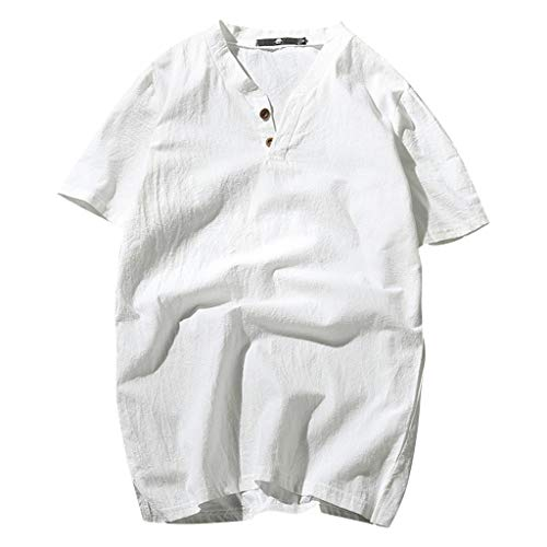 TOTOD Men's Summer New Cotton-Linen Short-Sleeved Top Fashionable Pure Cotton Hemp Top White