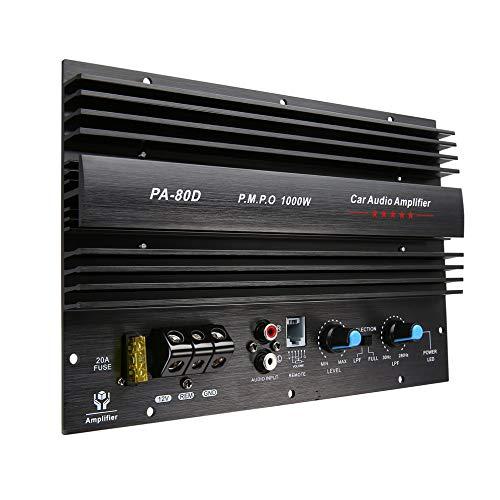laonBonnie 12 V 1000 Watt Verst/ärkerplatine Mono Car Audio Leistungsverst/ärker Leistungsstarke Bass Subwoofer Verst/ärker f/ür Auto Modifikation PA-80D schwarz