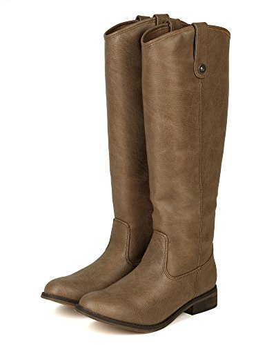 Leatherette Beige AE45 Knee Riding Toe Women High Boot Breckelle Round EqzFxTdTf
