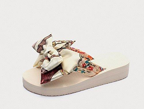 Fondo di flip Bow filtro Ajunr Da scarpette Sandali trentanove Mo Donna Bianco spessore Il inferiore Moda Tie Il Alla 3cm flop morbido Pantofole spiaggia 38 Le qfwfrTcW6