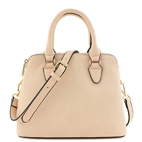 Classic Double Zip Top Handle Satchel Bag Blush