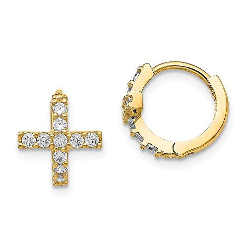 Top 10 Jewelry Gift 14K Madi K Polished CZ Cross Hinged Hoop Earrings by Jewelry Brothers Earrings