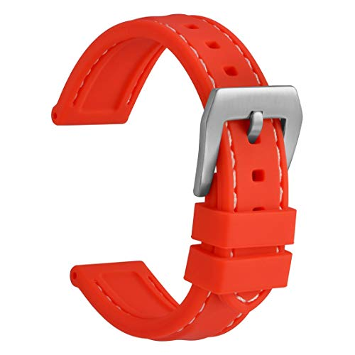 WOCCI Silicone Watch Band 20mm,Sporty Soft Rubber Replacement Straps (Red with Silver - Rubber Dial Red Strap