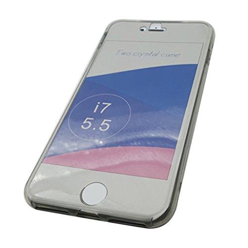 MagiDeal Shockproof Hybrid Back + Front UltraSlim transparente Cover Premium Schutzhülle Case Telefon Kasten Für IPhone 7 Klar Grau