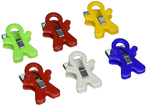 Adams People Shaped Magnet Clips, Assorted Color, Set of 6