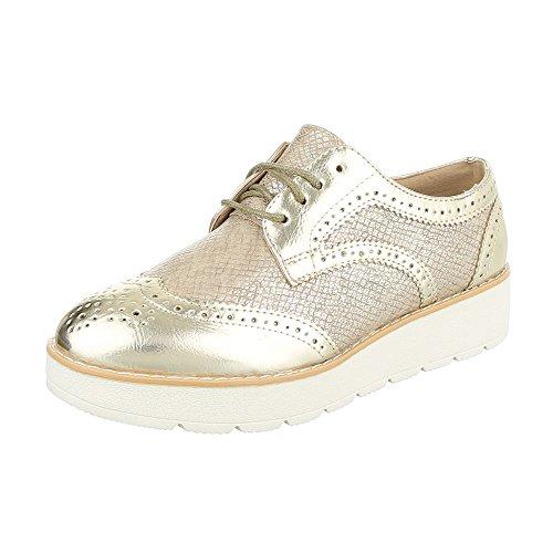 Ital-Design - Zapatos Planos con Cordones Mujer Gold 62016