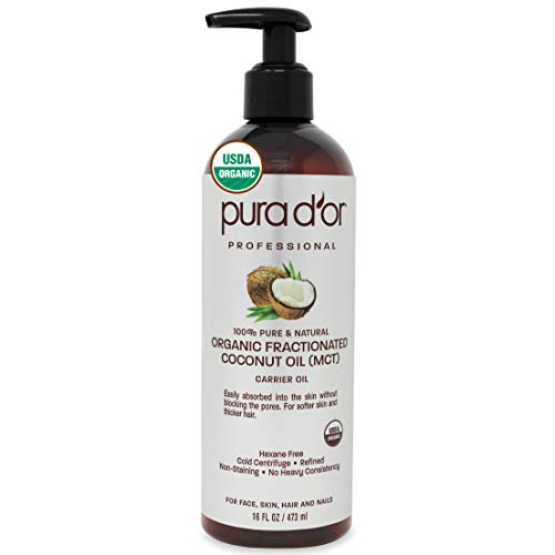 PURA-DOR-Organic-Fractionated-Coconut-Oil-16oz-473ml-USDA-Certified-100-Pure-Natural-MCT-Oil-Sustainably-Sourced-Hexane-Free-Moisturizing-Carrier-Oil-For-Face-Skin-Hair-Packaging-may-vary