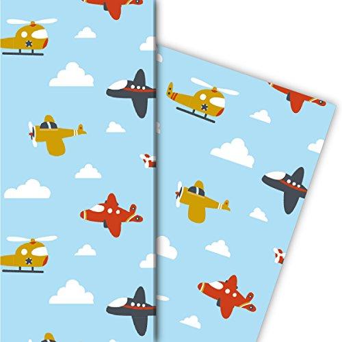 Lustiges Kinder Geschenkpapier für tolle Geschenk Verpackungen mit Flugzeugen, gross (4 Bögen, 32 x 47,5 cm)