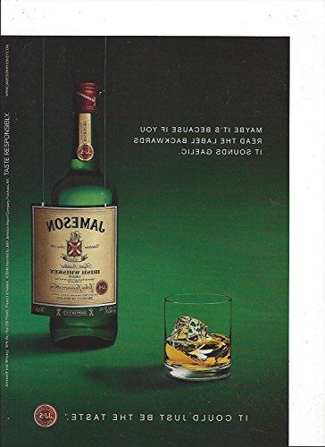 --PRINT AD-- For 2008 Jameson Irish Whiskey Backward Label Large --PRINT AD--