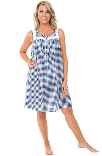 Alexander Del Rossa Womens 100% Cotton Lawn Nightgown, Sleeveless Scoop Neck Sleep Dress, Large Navy Blue Gingham (A0592V87LG) (Dress Navy Gingham)