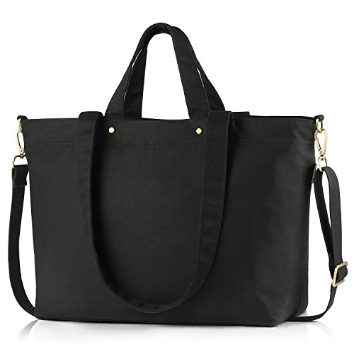 BONTHEE Canvas Tote Bag Handbag Women Large Shopper Shoulder Bag for School Travel Work - Black ()