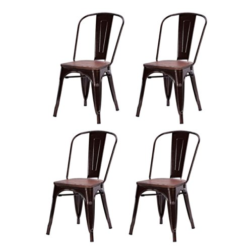 Classic Industrial Style Metal Bar Stools Solid Steel Construction Comfortable Backrest Stackable Side Chair Home Office Furniture - Set of 4 Copper #1524 (Burlington Holland Mi)