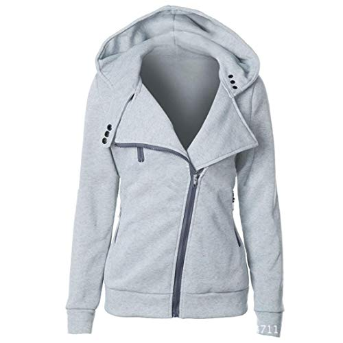 ZYUEER Sweat  Capuche Femmes Printemps Automne Hiver Sweat-Shirt Manteau Veste Hoodies Slim Manches Longues Couleur Unie avec Poche Et Chapeau Gris