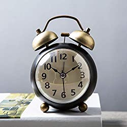 GX&XD Metal Creative Alarm Clock,Vintage Bedside Clock Non-Ticking Twin Bell Alarm Clock Decoration Battery Operated Travel Clock Metal Frame Table Clock for bedrooms-E
