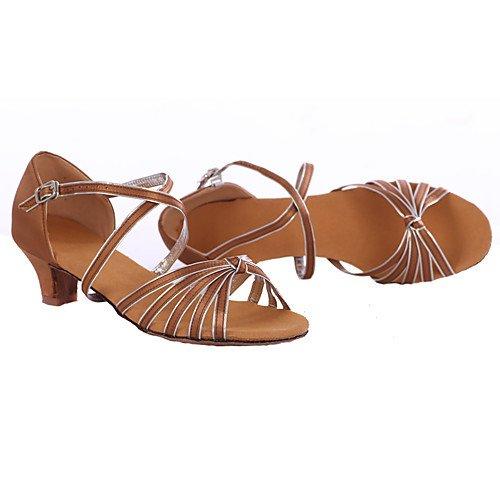 Q Deportivos de Baile Zapatos bajo Tacones Marrón Mujer T Cuero de de T marrón Zapatos aw85x1qC