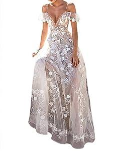 XXXITICAT Women Sexy Transparent Backless V Neck Fairy Lace Sleeveless Wedding Party Long Maxi Dresses Bridedress