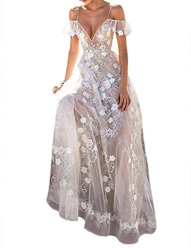 XXXITICAT Women Sexy Transparent Backless V Neck Fairy Lace Sleeveless Wedding Party Long Maxi Dresses -