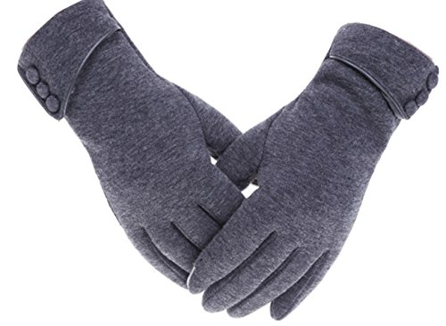 Tomily Womens Touch Screen Phone Fleece Windproof Gloves Winter Warm Wear (Gray)