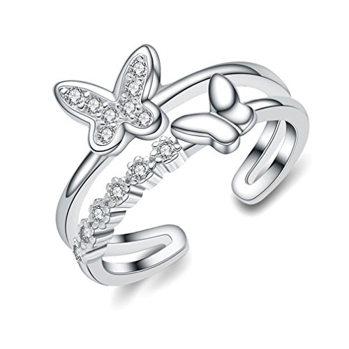 Sewanz Women's Simple Sterling Silver Finger Rings,Crystal Butterfly Opening Filigree Nail (Butterfly Silver Toe Ring)
