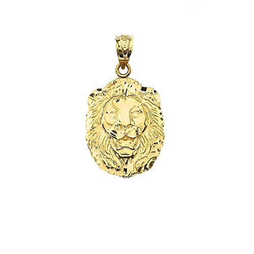 Bold 10k Yellow Gold Sparkle-Cut Lion Statement Pendant (Small) ()