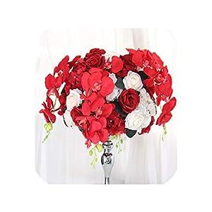 Customize 40cm Artificial Flower Ball centerpieces+1m Orchid Flower Row Decor Wedding Arch Wall Table Flower Bouquet+Candlestick,Red B