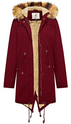 WenVen Women's Mid Length Hooded Sherpa Lined Parka Jacket (Red,XL,)