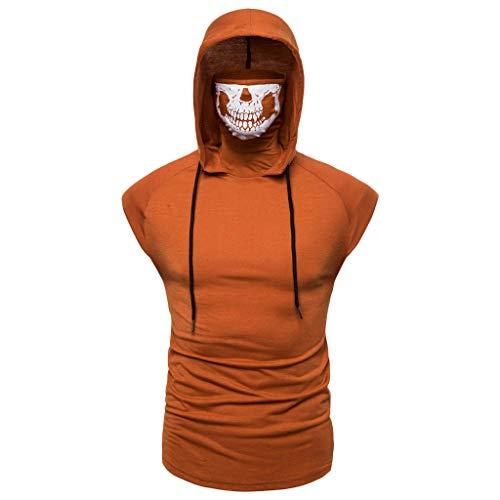 Men's Mask Skull Pure Color Pullover Sleeveless Hooded Sweatshirt Tops Blouse Orange -