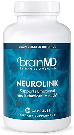 Dr. Amen brainMD NeuroLink – 180 Capsules – Stress Relief Mood Support Supplement, Promotes Optimal Brain Function, Focus Concentration – Gluten-Free – 45 Servings