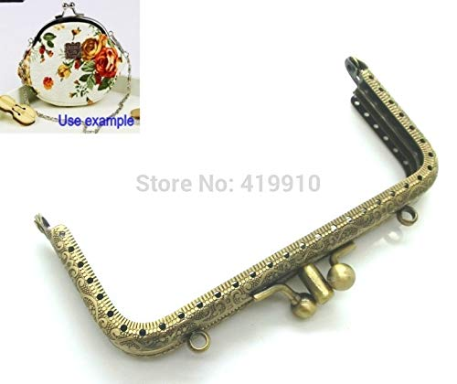 Kamas -2PC Metal Frame Kiss Clasp Arch for Purse Bag Lock Handle DIY Handmade Antique Bronze Ball 12cm x 6cm,J2566 ()