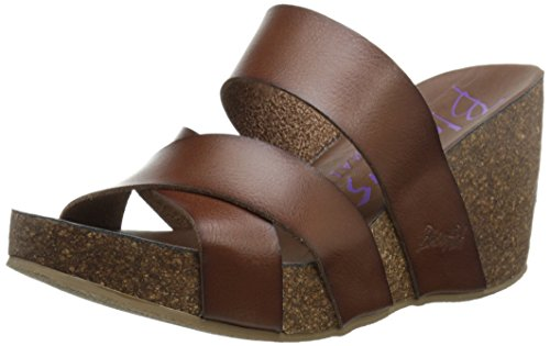 Blowfish Women's Hiro Wedge Sandal, Whiskey Dyecut PU, 10 M (Brown Leather Woman Sandal)