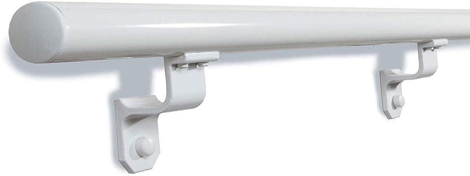 Redondo, 1,9 en. X 12 pies. Blanco Aluminio Escalera pasamanos con final tapones: Amazon.es: Bricolaje y herramientas