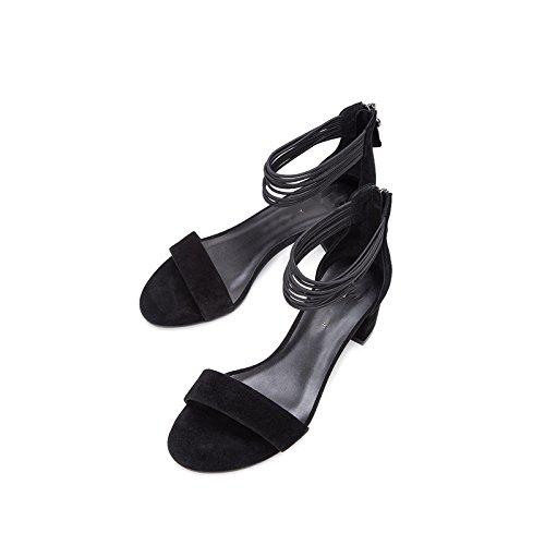 tacco con Sandali alti Pantofole estivi DHG casual alla moda tacco 35 da basso basso Nero Sandali Tacchi donna a piatti Sandali qPZPUdx