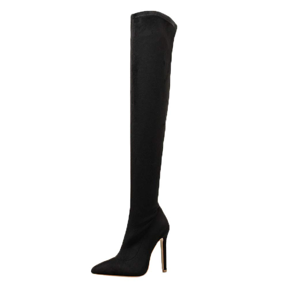 Fheaven Womens Knee-High Heels - Stiletto Heel - Ultra Soft Fabric Fashion Over-The-Knee Boots Black by Fheaven-shoes