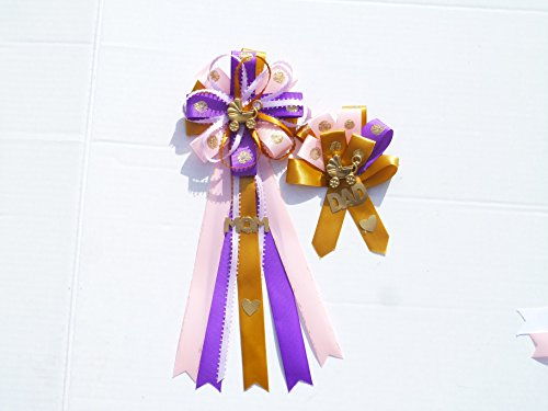 Dot Corsage - Stroller Carriage Baby Carriage Stroller Girl Baby Shower Themed Corsage for Mom and Dad To Be ( Pink, Lavender Purple& Gold Dots)