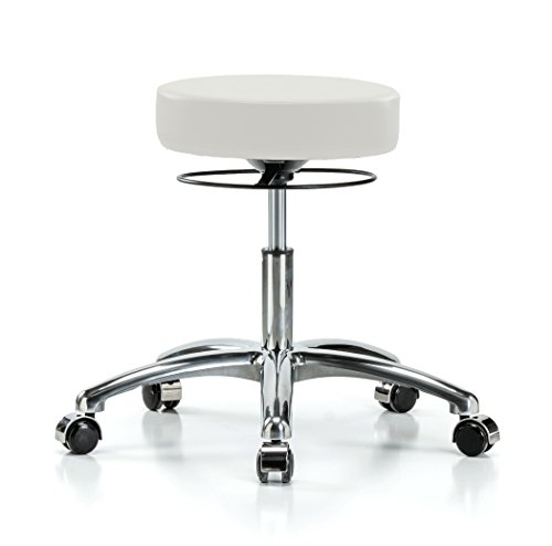 Perch Chrome Stella Rolling Height Adjustable Salon & Spa Stool for Hardwood or Tile | Desk Height 18.5-24 Inches | 300-Pound Weight Capacity | 12 Year Warranty (Adobe White Vinyl)