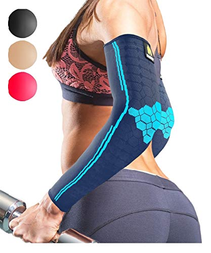 Sparthos Arm Compression Sleeves - Forearm Brace for Recovery, Support for Athletic Sports Running Tennis Baseball Lifting Football Gym Fit Shooting Weightlifting Golf - for Men and Women (Blue-M)