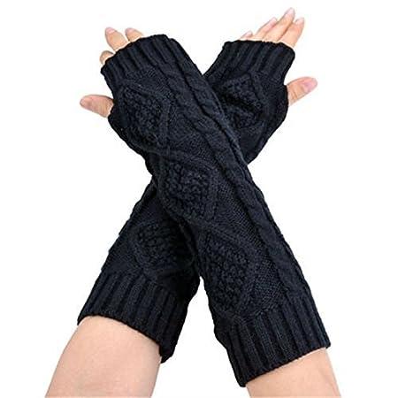 Ardisle Damen Schwarzer Langarm Fingerlose Handschuhe Handschuhe