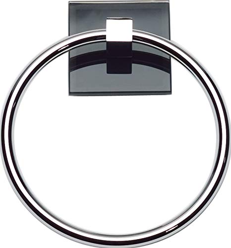 (Atlas Homewares ETR-BL-CH Eucalyptus Collection 6.12-Inch Black Towel Ring, Polished Chrome )