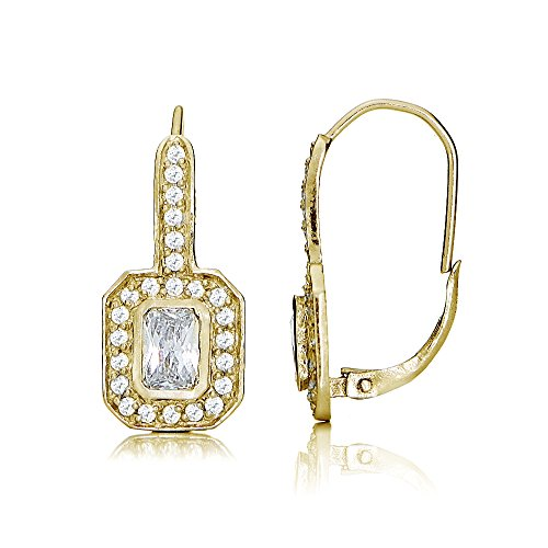 Yellow Gold Flashed Sterling Silver Cubic Zirconia Rectangle Leverback ()